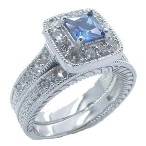 800e8a4b092 Edwin Earls Jewelry - His Hers Sapphire Blue Clear Cz Wedding Ring Set